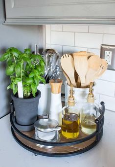 Home Decor Inspiration Kitchen and Dining Room Spring Tour with Decorated Tray with Herbs.Home Decor Inspiration Kitchen and Dining Room Spring Tour with Decorated Tray with Herbs