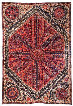 Large medallion suzani, Bukhara, Uzbekistan, 19th century