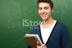 Student by Chalkboard Royalty Free Stock Photo