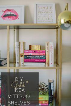 DIY Gold Ikea Book Shelves