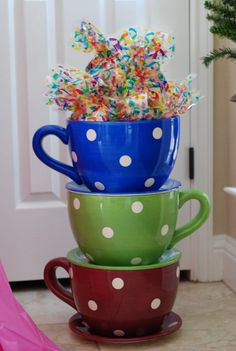 Outdoor, Breathtaking Design Of Giant Teacup Planters With Blue Green Andred Color Of Teacup With Nice Accessories With White Door Color With Good And Elegant Style ~ Tea Cup Planter, Planter Boxes, Alice Tea Party, Game Themes, Garden Images, After School Snacks, Best Tea, Dog Snacks, Green Trees