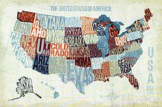 Modern karta över USA, blå - Konst av Michael Mullan på AllPosters.se SNYGG M RAM URBANA