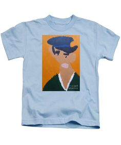 Patrick Francis Designer Kids Light Blue T-Shirt featuring the painting Young Man With A Hat 2014 - After Vincent Van Gogh by Patrick Francis