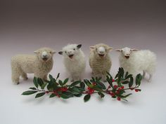 Items similar to Colin's Creatures Christmas Choir of Sheep Figurines on Etsy