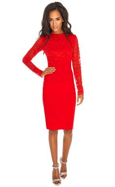 Red Lace Fitted Dress - Virgo Boutique Online