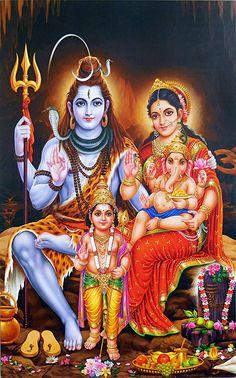Hindu Deity God Shiva Family Glittered Print In India Lord Shiva Pics, Lord Shiva Hd Images, Ganesh Images, Lord Shiva Family, Shiva Shakti, Shiva Parvati Images, Shiva Linga, Shiva Art, Hindu Art