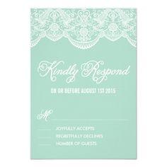 Mint Brocade Lace Wedding RSVP Card