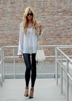Leggings with stilettos. PS this girl is WAY too thin.