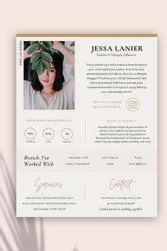 Media Kit Template, Resume Design Template, Modelo Portfolio, Cv Pattern, Cv Digital, Cv Website, Instagram Stats, Cv Ideas, Graphic Design Resume