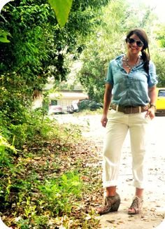 chambray shirt & white pants for spring
