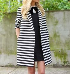 striped coat and black dress