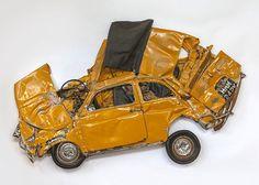 Ron Arad sculpture from real compressed Fiat 500 #Art, #Car, #Fiat, #Sculpture