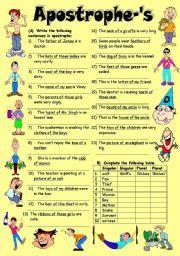 English worksheet: Exercises on Apostrophe-´s (Editable with Key)