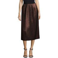 BOSS Miplisa Midi Skirt ($251) ❤ liked on Polyvore featuring skirts, metallic midi skirt, metallic pleated skirt, knee length pleated skirt, faux-leather midi skirts and brown skirt