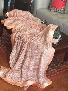 PRE ORDER OFFER ONLY 200 I'm in love with this saree. Simply stunning Georgette saree with beautiful chikankari work with seqiun all over. Peach Color Saree, Peach Colors, Beautiful Saree, Stunning Dresses, Pure Georgette Sarees, Lace Saree, Bollywood Fashion, Bollywood Style, Thread Work
