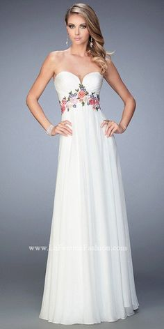 Floral Embroidered Sweetheart Chiffon Prom Gown By La Femme