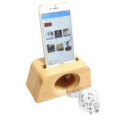 Wooden Horn Speaker Sound Amplifier Stand Dock for SmartPhone Wooden Speakers, Horn Speakers, Iphone Holder, Cell Phone Stand, Woodworking Inspiration, Making Faces, Docking Station, Unusual Gifts, Smartphone