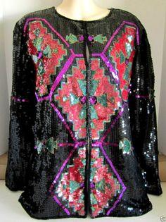 Sequin Jacket Top Bugle Beaded Black Silk ELLEN BOYD Fuscia Red Green Small VTG