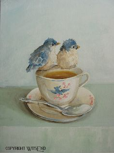 'GUESS WHO'S COMING TO TEA', Birds Teacup painting original Bluebird art still life FREE USA shipping.  By WitsEnd, via Etsy SOLD