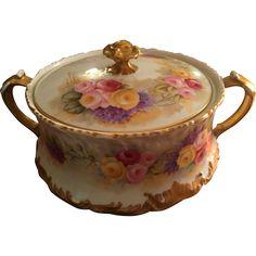 Large Limoges Hand Painted Cracker /Biscuit Jar, Roses and Lilac,Limoges  Artist Signed