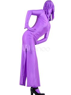 Purple Two-Piece Lycra Zentai Suit With Dress And Pants