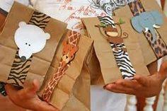Resultado de imagen para bolsa de papel  kraft con adornos animal print
