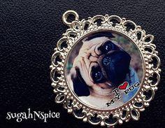 I Love My Pug Pendant - I Love My Pug Necklace - I Love My Pug Jewelry - Custom Dog Pendant