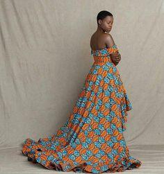 Ankara wedding dresses / kinte wedding dresses / long wedding dress for women's / Africa print wedding dress African Formal Dress, African Dresses For Kids, African Wear Dresses, Africa Fashion, African Wear Designs, Latest Ankara Gown, Traditional African Clothing, Pink Floral Maxi Dress, Mode Chic
