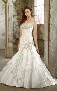fit to flare tea length wedding dress pics. | ... Wedding Dresses Designer Diamond Organza fit-and flare wedding gown
