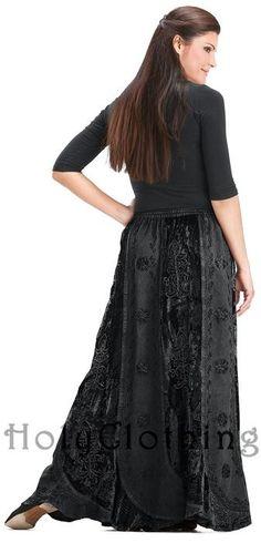 Celia Scalloped Hem Velvet Vtg Lace Gypsy Peasant Boho Skirt