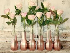 Blush Rose Gold Wedding Decor Centerpiece Metallic Mason Jars