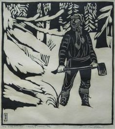 """Currier Collections Online - """"Song of the Broad-Axe - Beauty of the Woodmen"""" by Wharton Esherick"""