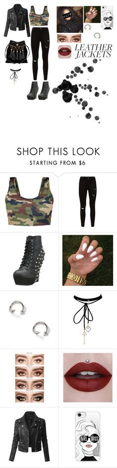 """""""Leather Jacket"""" by squishypancake ❤ liked on Polyvore featuring Bettie Page, Topman, WithChic, LE3NO, Casetify and Miu Miu"""
