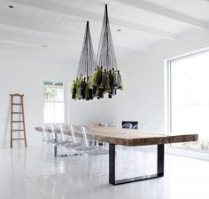 Minimal space with a whole lot going on above the table.  I love it though