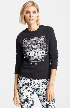 { KENZO Embroidered Tiger Cotton Sweatshirt }