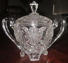 EAPG 1910 Cambridge Glass Co. Archfoot daisy 4 toe Lidded Honey/Mustard Pot