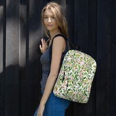 Trendy Back to School Bright Flowers Backpack Laptop Sport Gym Geometric Floral on Black Girls Teens Fashion Bags, Fashion Backpack, Floral Backpack, Bright Flowers, Laptop Backpack, Vera Bradley Backpack, Are You The One, Trending Outfits, Unique Jewelry