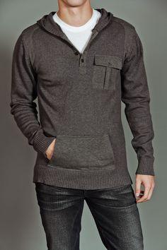 civil society ringo: men's l/s hooded sweater h. dark grey