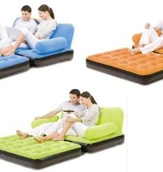 Bestway-Double-Flocked-Air-Inflatable-Sofa-Bed-Orange-0