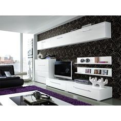 mod, sleek and sophisticated. Love the purple accent carpet and the wall paper too.