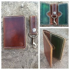 Image of The Craftsmen Hand Stitched Leather Card Wallet and Hand Stitched Leather Key Chain