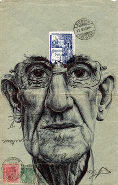 Portraits drawn on vintage envelopes by Mark Powell.