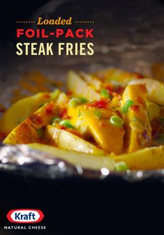 Turn plain Yukon gold potatoes info flavor-packed steak fries this weekend with rich, creamy KRAFT Shredded Sharp Cheddar Cheese, crispy bacon crumbles & freshly chopped green onion. Side Recipes, Great Recipes, Dinner Recipes, Favorite Recipes, Family Recipes, Potato Dishes, Potato Recipes, Food Dishes, Side Dishes