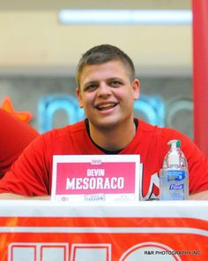 Devin Mesoraco speaks with fans during the Reds Caravan held at the Lima Mall on Saturday....He's so adorable!!!