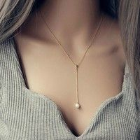 Wish | Fashion Lady Adjustable Necklace Pearl Pendant Sautoir Mother-of-pearl Collarbone Chain