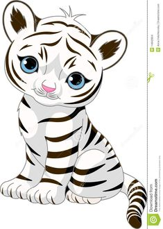 A cute character of sitting white tiger cub. Free art print of Cute white tiger cub. Cartoon Images, Cartoon Art, Cute Cartoon, Black Cartoon, Cartoon Tiger, White Tiger Cubs, Baby Animals, Cute Animals, Tiger Images