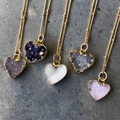 Heart Druzy Necklaces, druzy jewelry, Crystal Necklaces, Bridesmaids jewelry, wedding gift - Druzy heart gold electroplated edges with gold filled chain. Choose one from numbered photo. Druzy Jewelry, Crystal Jewelry, Crystal Necklace, Silver Jewelry, Silver Ring, Quartz Necklace, Bar Necklace, Bridesmaid Jewelry, Bridal Jewelry