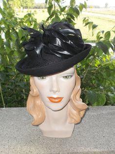 17b6bac2634 1940s Vintage Black Felt Tilt Hat with Coq Feathers 22 1 2