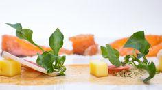 Salmon cure with Star anise mix, Agrumato powder, Shiso garlic crumb, White chocolate cube, Soya honey glazed, Pickled Lotus root & radish and fresh watercress