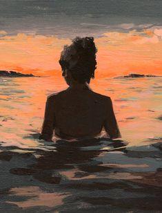 Summer Sunset .  giclee art print by ClareElsaesser on Etsy